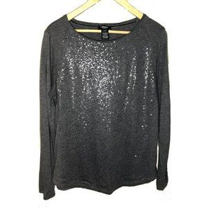 Olsen Europe Gray Sequin Front Longsleeve Top